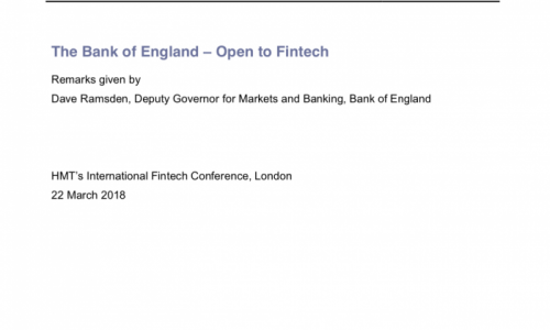 The Bank of England – Open to Fintech
